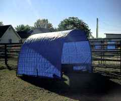 Home Built Shelters made with two 16 foot X 52 inches Hog Panels and Tarps